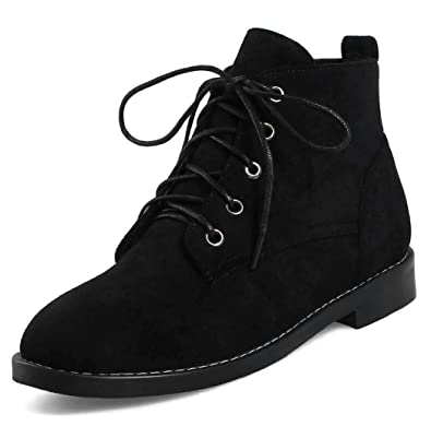 94889ec279ad Aisun Women s Lace Up Flat Booties - Simple Comfort Faux Suede - Round Toe Ankle  Boots