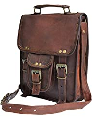 Genuine distressed leather shoulder bag satchel for men messenger bag ipad case tablet bag