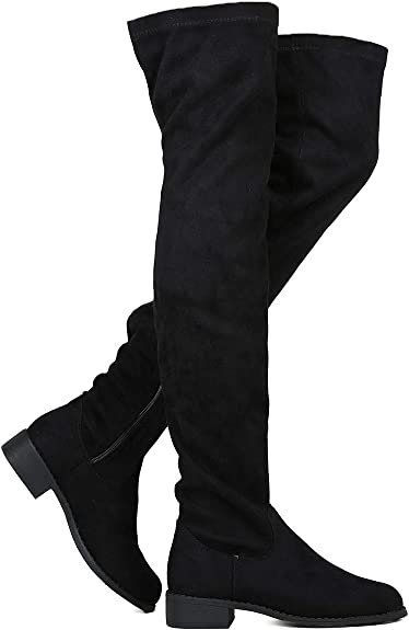 Women Casual Denim Zip Flats Pull On Winter Autumn Over Knee Long Boots Shoes