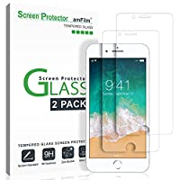 "amFilm iPhone 8, 7, 6S, 6 Screen Protector Glass, amFilm Tempered Glass Screen Protector for Apple iPhone 8, 7, iPhone 6S, iPhone 6 [4.7"" inch] 2017 2016, 2015 (2-Pack)"
