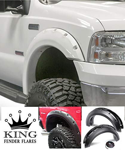 KING FENDER FLARES: Fits 1999-2007 Ford F-250 F-350 Super Duty - Pocket with Rivet Style 4 Piece Bolt-ON - Smooth Finish - PAINTABLE Flares NO Drill Design (Fender Bolt Set)