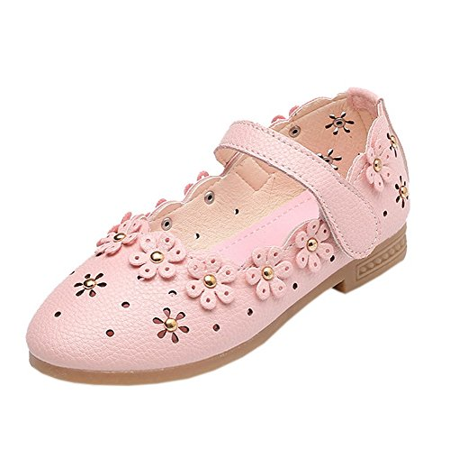 - Vokamara Baby Toddler Girls Soft PU Leather Mary Janes Flowers Bow Dress Shoes (10 M US Toddler, J-Pink)
