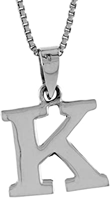 1//2 Inch Small Sterling Silver Block Initial L Necklace Alphabet Letters High Polished 16-30 inch 0.8mm Box/_Chain