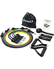 QiyuanLS Fitness Resistance Bands Set, With 5 Resistance Tubes, 2 Foam Handles, 2 Ankle Straps, Door Anchor and Carry Bag For Build Muscle,Fat Burning,Therapy Rehabilitation and Home Workout