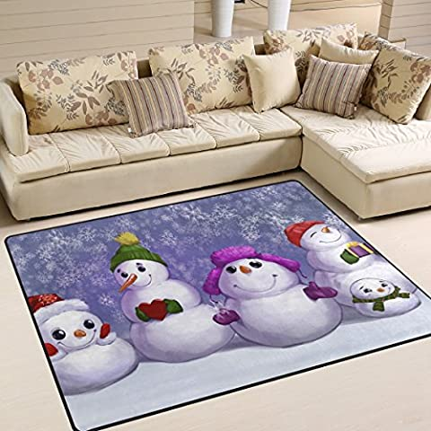 Naanle Merry Christmas Area Rug 5'x7', Funny Snowmen Snowflake Polyester Area Rug Mat for Living Dining Dorm Room Bedroom Home - 5' Snowmen
