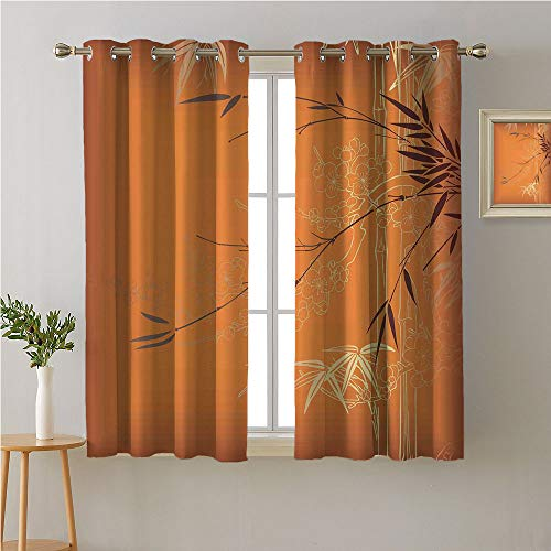 Jinguizi Bamboo Grommet Curtain Doorway,Bamboo Branches Flowers Illustration in Vivid Color Eastern Nature Theme,Image Darkening Curtains,55W x 63L