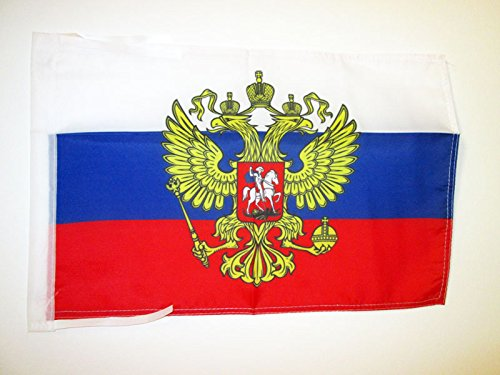 AZ FLAG Russia with Eagle Flag 18'' x 12'' Cords - Russian Coat of arms Small Flags 30 x 45cm - Banner 18x12 in