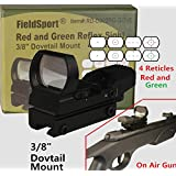 "Field Sport Red and Green Reflex Sight with 4 Reticles, 3/8"" Dovetail Mount for Airgun Airsoft and .22 Rifle"