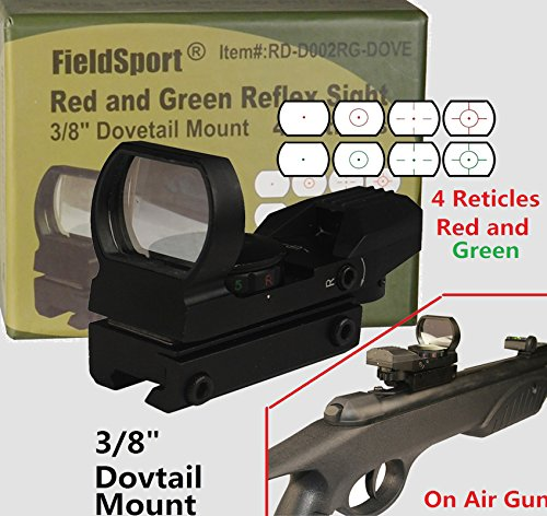 Field Sport Red and Green Reflex Sight with 4 Reticles, 3/8
