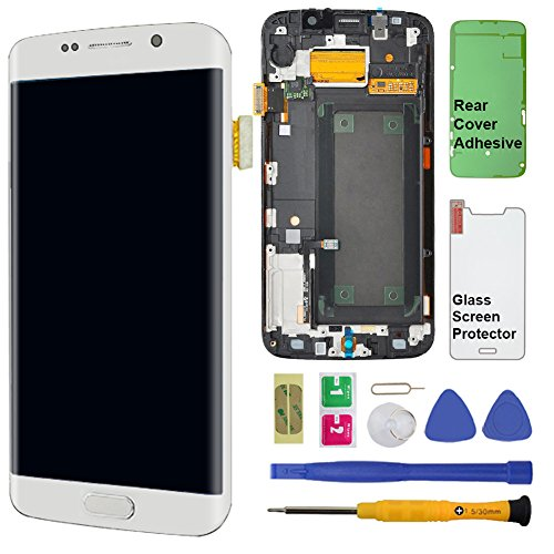 Display Touch Screen (AMOLED) Digitizer Assembly with Frame for Samsung Galaxy S6 Edge (5.1 inch) AT&T (G925A)/T-Mobile (G925T)/Global (G925F) (for Phone Repair) (White Pearl)