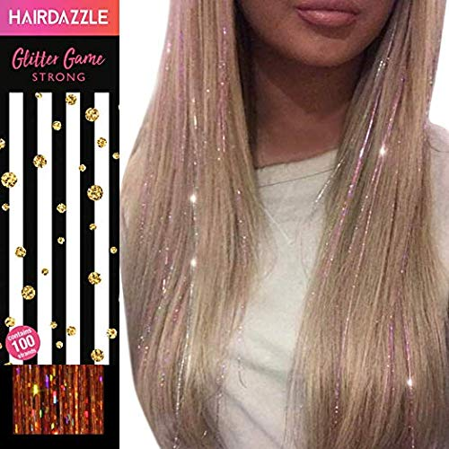 (Hair Dazzle Holographic Hair Tinsel Set - Ultimate Fairy Strands Kit - METALS MIX Color Glitter Hair Extensions For Girls - Heat Resistant & Tangle-proof, Long Lasting Women's Sparkle)