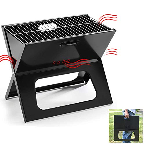 JSRANIS BBQ Charcoal Grill, X Type Folding Portable Lightweight Barbecue Grill Tools for Camping Hiking Picnics Outdoor Cooking Travel Park Beach Wild Backpacking Party Small Grill(Black)