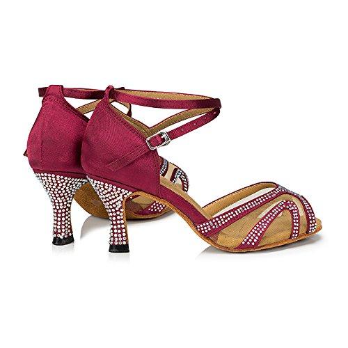 Suede Sole Dance Dance 3inch Shoes Shoes Ballroom Bachata Women Performance Latin Heels TTdancewear Red Rhinestones Salsa qAPwxC7