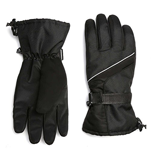 MPHABON Ski Gloves , With Windproof ,Breathable And Waterproof Protection Gloves,Outdoor Ski Snow Snowboard Gloves ,Winter Warm Gloves (Black Upgrade) (Plastic Mens Glove)