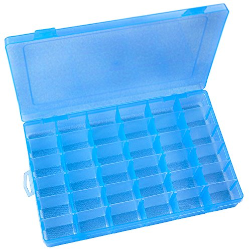 DUOFIRE Plastic Organizer Container Storage Box Adjustable Divider Removable Grid Compartment Big Clear Slot Box for Jewelry Beads Earring Container Tool Fishing Hook Small Accessories, Blue 36 Grids