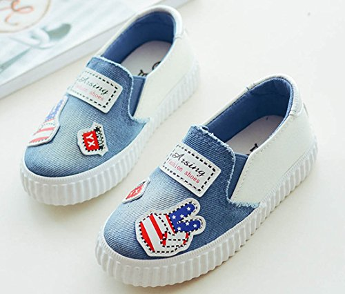 iDuoDuo Boys Girls Fun Print Outdoor Leisure Shoes Easy Slip On Loafer Flats Blue 12 M US Little Kid by iDuoDuo (Image #8)