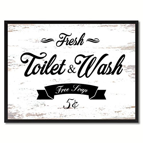 Fresh Toilet & Wash Vintage Sign White Canvas Print with Picture Frame Home Decor Wall Art Collection Gift - Vintage Pictures Men