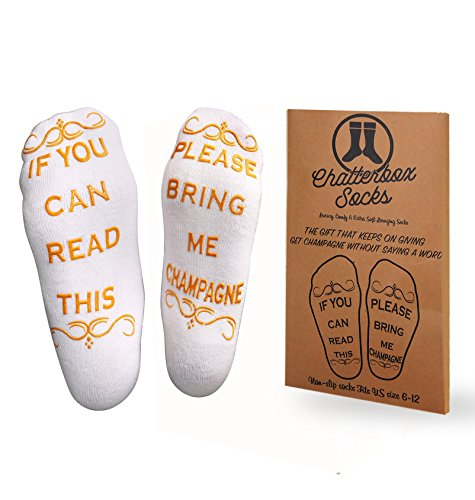 If You Can Read This Bring Me Champagne Socks - Luxury Premium Brushed Cotton - Perfect Host/Hostess or Housewarming Gift Idea, Xmas, Birthday Present, Mother's or Father's Day - Chatterbox Socks