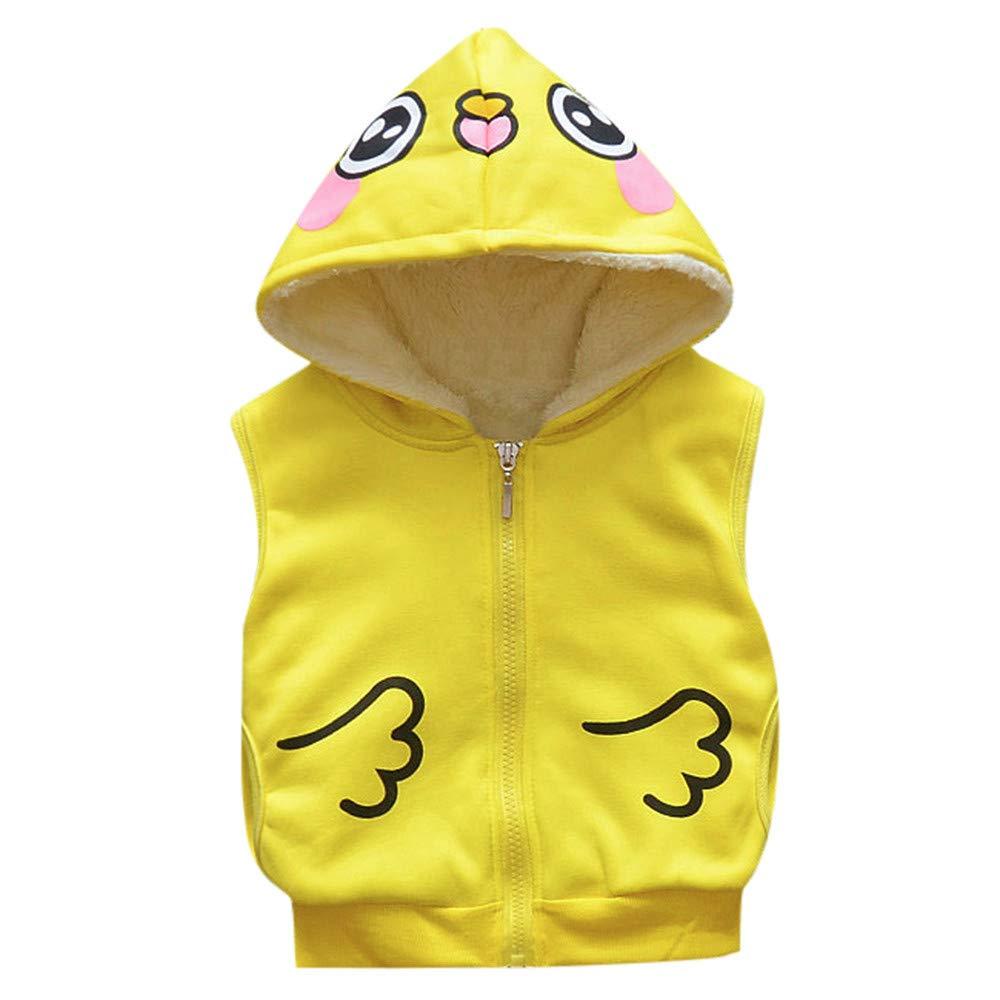 Baby Girls Boy Cartoon Winter Jackets Kids Warm Veat Waistcoat Clothes Hoodie Coat