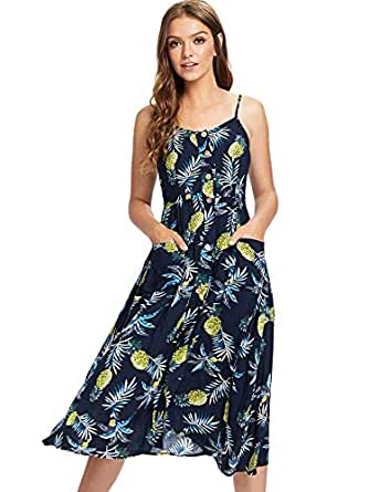 dcba9cb4a03e5 Image Unavailable. Image not available for. Color  Milumia Women Boho Cami  Dress Knee Length Fit Flare ...