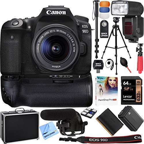 Canon EOS 90D 32.5MP CMOS Digital SLR Camera w/EF-S 18-55mm is STM Lens & More Bundle