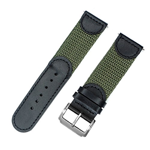 (IVAPPON Men's Calfskin Leather and Nylon NATO Watch Strap Swiss-Army Style Watch Band (Black with Olive, 22mm))