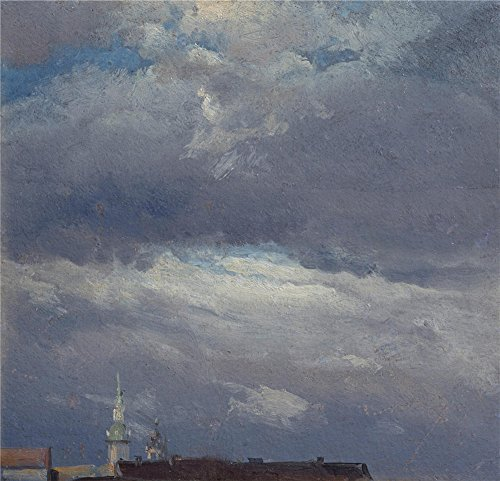 Oil Painting 'Johan Christian Clausen Dahl-Stormclouds Over The Castle Tower In Dresden,1825' 10 x 10 inch / 25 x 26 cm , on High Definition HD canvas prints, Dining Room, ()
