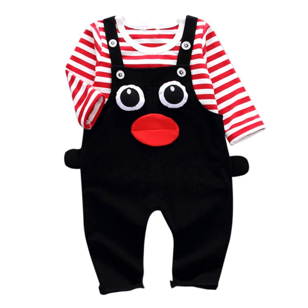 FeiliandaJJ Baby Clothing Set, 2pcs Infant Toddler Baby Girl Long Sleeve Stripe Tops +Cartoon Eyes Pants Outfits Clothes