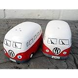 Camper Van Hippy Bus Salt and Pepper Pots, Cruet Set Red