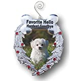 Dog Christmas Ornament - Dog Memorial Photo Christmas Ornament - Favorite Hello Hardest Goodbye Saying - Loss of a Dog Ornament