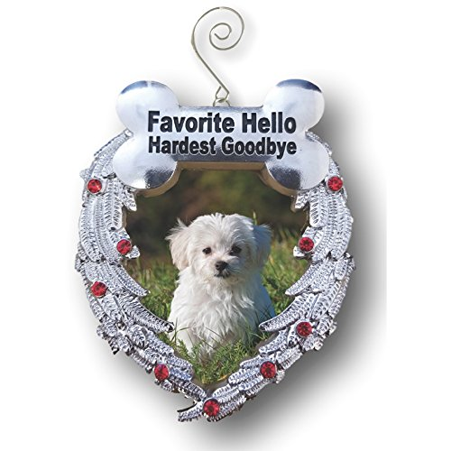 Pewter Angel Photo Frame Ornaments (Dog Christmas Ornament - Dog Memorial Photo Christmas Ornament - Favorite Hello Hardest Goodbye Saying - Loss of a Dog Ornament)