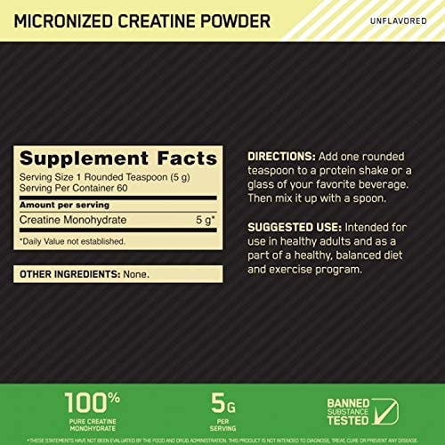 Amazon.com: Optimum Nutrition Micronized Creatine Monohydrate Powder, Unflavored, Keto Friendly, 60 Servings (Packaging May Vary): Health & Personal Care