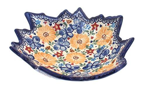 Polish Pottery Butterfly Medium Leaf Bowl
