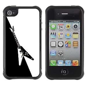 LASTONE PHONE CASE / Suave Silicona Caso Carcasa de Caucho Funda para Apple Iphone 4 / 4S / Electric Guitar Minimalist B W