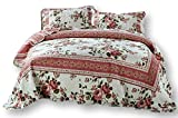 DaDa Bedding Cottage Bedspread Set - Dusty Roses Reversible Quilted Coverlet - Vibrant Floral Multi Colorful Mauve Pink - King - 3-Pieces