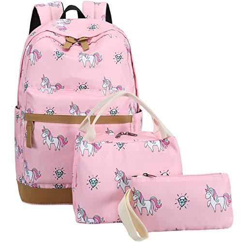 CAMTOP School Backpack for Girls Cute Teens School Bag Kids Bookbags Set Travel Daypack (Pink)