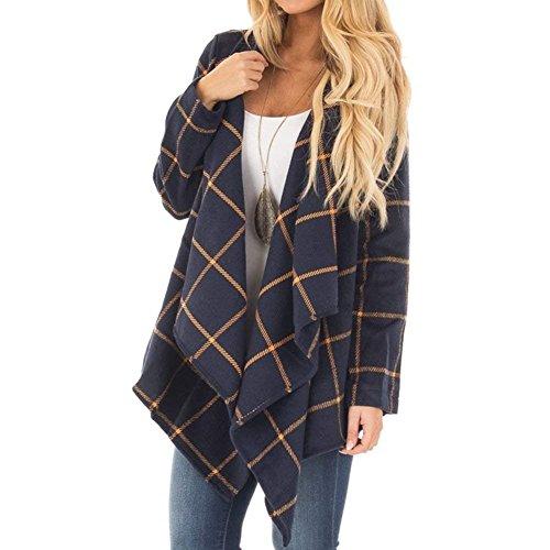 Outerwear Femme Printemps Automne Coat lgant Fashion Cardigan Vintage Carreaux breal Irregular Asymtrique Patte De Boutonnage Manteau Blau