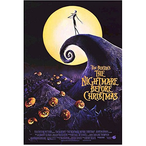 Nightmare Before Christmas Movie Poster 8x10 Photograph - Jack Skellington on Hilltop in Front of Moon - Lonely Pumpkin King of Halloween Town - Professional Quality - NMBC -
