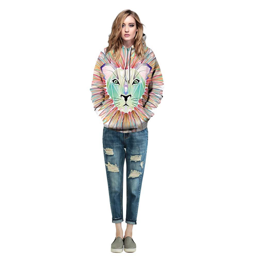 URVIP Unisex 3D Digital Print Pullover Realistic Big Pockets Hoodie Sweatshirt