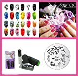Konad Nail Art Mini Set Polish, Stamper, & Scraper + Image Plate M66 Bamboo + A-Viva Nail File