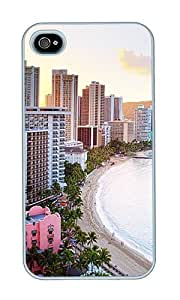 iPhone 4 Case,iPhone 4S Case,VUTTOO Stylish Waikiki Beach Hawaii Hard Case For Apple iPhone 4/4S - PC White