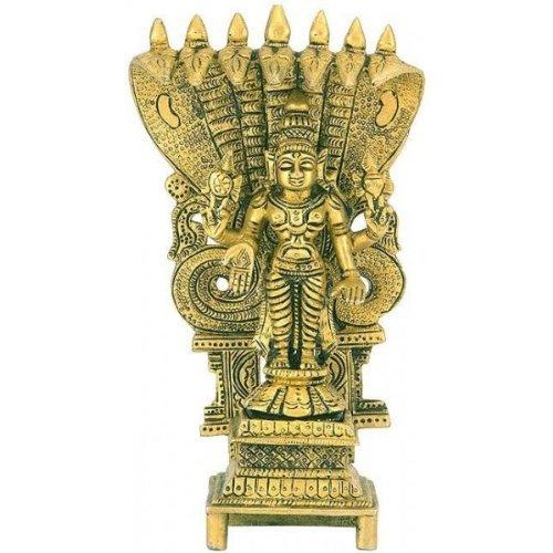 "Gangesindia Lord Vishnu Figure Standing Under Sheshnag Narayan Statue Ananta Shesha 3313 (8.75"" H x 4.75"" W x 2"" D) Gold"