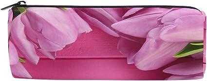 Estuche cilíndrico para lápices con forma de tulipanes de flores, para el día de la madre, bolsa de papelería con cremallera: Amazon.es: Oficina y papelería