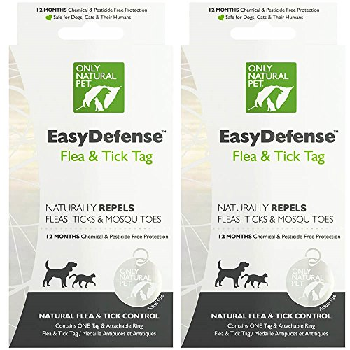 Only Natural Pet Easydefense Flea And Tick Control Collar Tag For Dogs And Cats - Natural Active Ingredients For Prevention, Control & Enhanced Defense - 2 Pack by Only Natural Pet