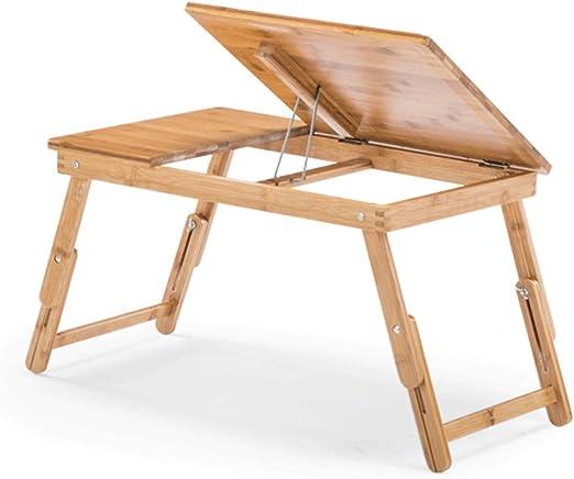 NNDQ Bandeja de Cama de bambú Mesa con Patas Plegables, Bandeja ...