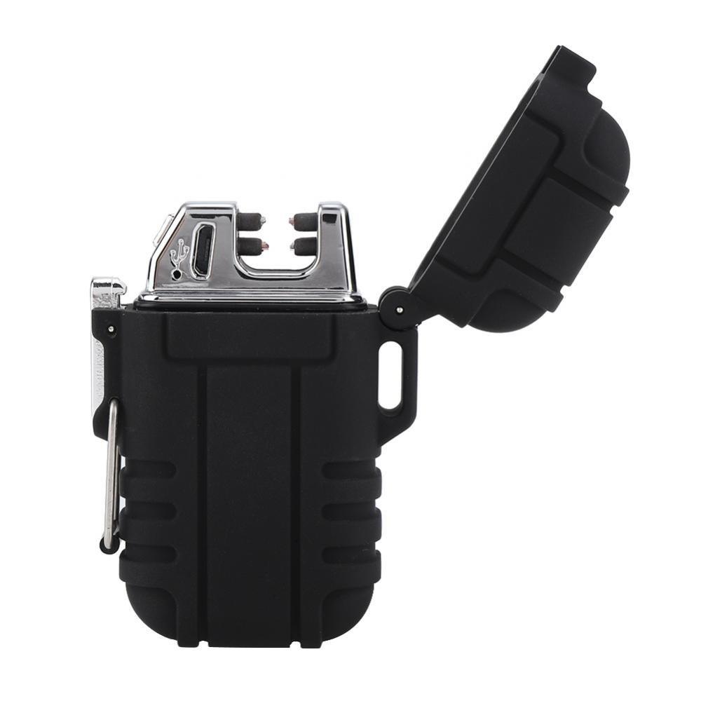 Zerodis Accendino Elettronico Ricaricabile di Usb, Dispositivo d'Avviamento di Campeggio Impermeabile All'Aperto Impermeabile del Doppio Arco di Campeggio(Nero)