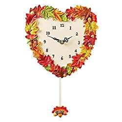 Leaves Heart Clock with Acorns Swinging Pendulum, Hand Painted Fall Wall Décor