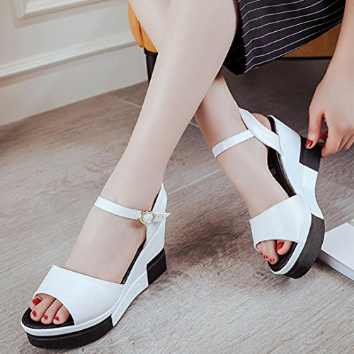 Saingace Frauen Sommer Peep-Toe High Schuhe Römische Sandalen Damen Flip Flops Weiß