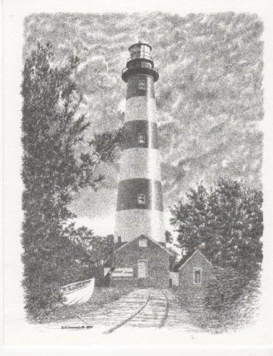 Assateague Island Lighthouse Bill Harrah Portrait Matted Art Card - 5 in x 7 in Design - 8 in x 10 in Matted