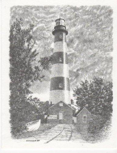 Assateague Island Lighthouse Bill Harrah Portrait Matted Art Card - 5 in x 7 in Design - 8 in x 10 in Matted -